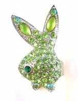 Large Playgirl Bunny Green Rhinestone Ring.